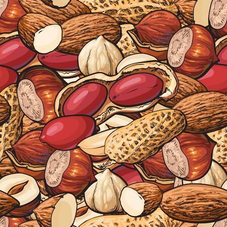 Various nuts seamless pattern with mix of peanut, almond and hazelnut vector illustration. Healthy organic food repeating texture for textile and package design.