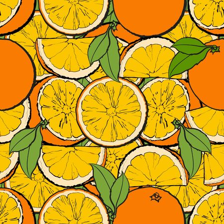 Seamless pattern and background of juicy oranges and green leaves. Ripe and fresh citruses and fruits oranges in a seamless pattern, nature concept, hand drawn vector illustration.