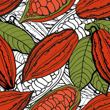 Seamless pattern and background of chocolate brown cocoa beans in pods and with seeds, hand drawn vector illustration for printing on fabric and textile.
