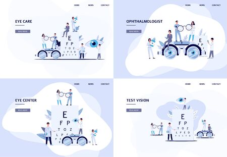 Set of web banner or landing page templates for ophthalmology medical service or clinic with tiny cartoon people characters. Flat trendy vector illustration.