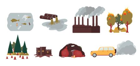 Environment pollution and ecology disaster set - factory smoke, forest fire, deforestation, chemical spill, plastic waste, car carbon emission - flat isolated vector illustration