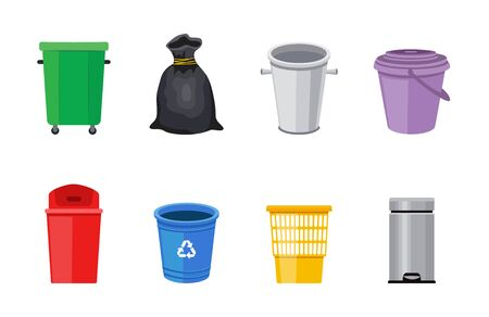 Set of street and in-house trash bins or plastic garbage containers flat vector illustration isolated on white background. Recycle trash buckets and bags collection.