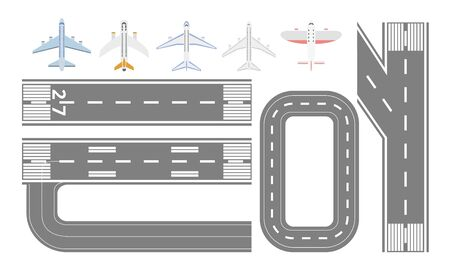 Airport runway track and airplane types set - isolated flat collection of asphalt airstrip roads and different planes seen from top view - cartoon vector illustration Иллюстрация