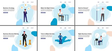Business decision making banner set - cartoon businessman making a strategy choice, thinking and analysing solutions - isolated flat vector illustration