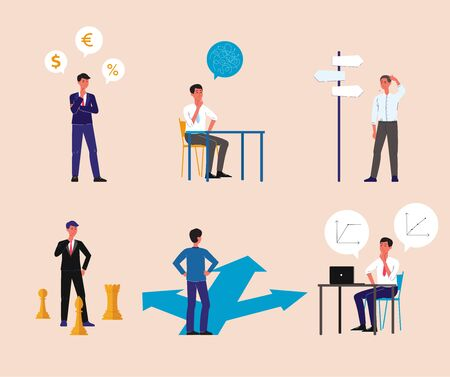 Businessman making a business decision - flat cartoon isolated set. Man in suit thinking about problem solution and work strategy - executive dilemma metaphor vector illustration 向量圖像