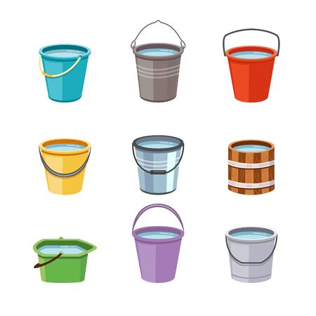 Metal and plastic buckets set flat cartoon vector illustrations isolated on white background. Collection of plastic, wooden and aluminum buckets or pails with water. Illustration