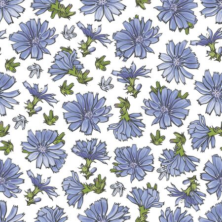 Vector cornflower blossoms seamless pattern background. Natural summer, spring backdrop with meadow plants with blue petals. Floral natural illustration for poster, textile decoration