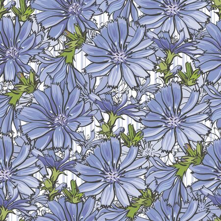 Vector illustration of blue cornflowers seamless pattern in sketch style - backdrop with blue wild flowers and green leaves on white background. Beautiful floral texture with knapweeds. 矢量图像