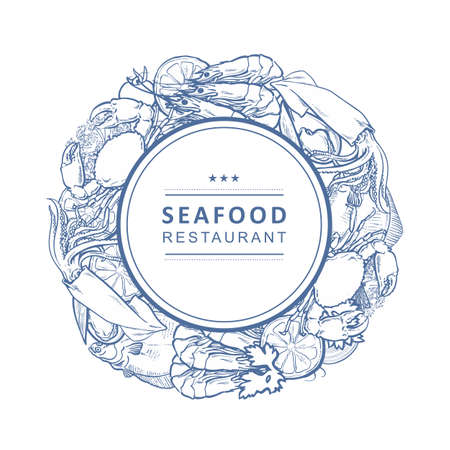 Vector seafood restaurant, cafe logo, advertising poster with circle underwater animals monochrome pattern. Marine composition with crawfish, lobster flatfish squid with lemon slice Illustration