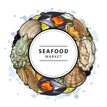 Vector illustration of seafood market banner with various aquatic edible molluscs and spices formed as circle with white label on top - hand drawn marine oysters and mussels.