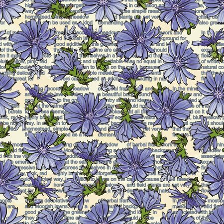 Vector illustration of blue cornflowers on text background seamless pattern in sketch style - backdrop with blue wild flowers and green leaves on top of words. Beautiful floral texture with centaurea.