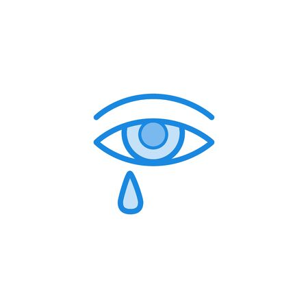 Allergy symptoms concept. Eye with teardrop in blue outline icon style. Allergic intolerance to food, insects or pollen. Medical healthcare problem. Vector illustration