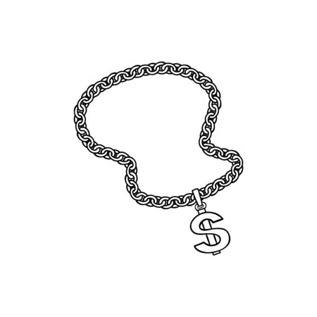 Sketch chunky chain with dollar currency sign in black silhouette icon style. Rap, hip hop music culture symbol, luxury jewelry necklace. Vector isolated illustration. Ilustrace