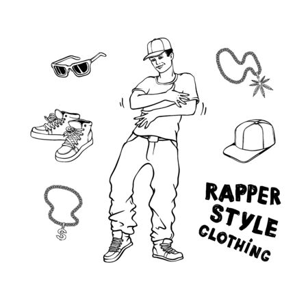 Hip-hop or rap style set with young man in sneakers and snapback standing in rapper style and stylish clothes and accessories isolated on white background in hand drawn line vector illustration.