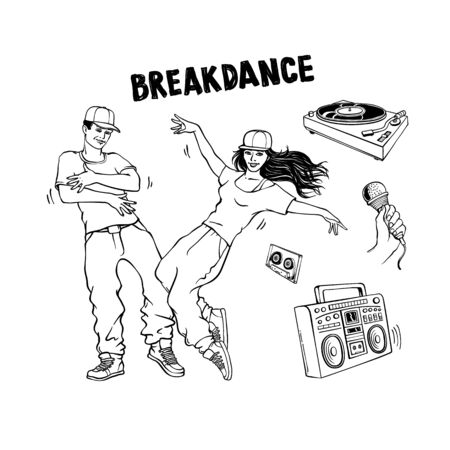 Breakdance style set with young man and woman dancing and various hip-hop and rap music players in sketch style isolated on white background. Hand drawn vector illustration of youth street culture. Ilustrace