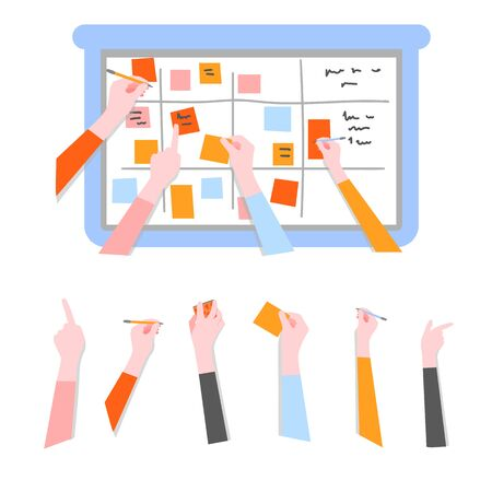 Scrum task board set with human hands holding colorful sticky papers and markers and board for agile teamwork - managing of software development in flat isolated vector illustration. 矢量图像