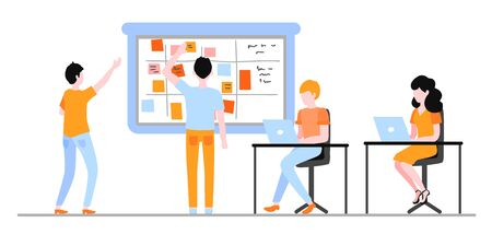 Scrum planning of teamwork on software development isolated on white background. Flat characters working with laptop and sticking colorful paper on agile board in vector illustration.