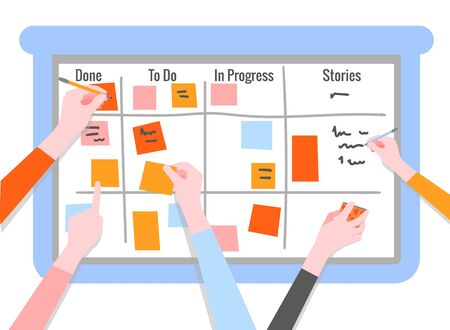 Scrum task board concept with human hands holding colorful sticky papers and markers. Board for agile teamwork of software development in flat isolated vector illustration. Vector Illustratie
