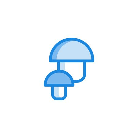 Allergy symptoms concept. Mushrooms as common food allergen in blue outline icon style. Allergic intolerance to food, insects or pollen. Medical healthcare problem. Vector illustration Stock Illustratie