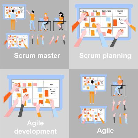 Vector software development poster set team meeting near huge scrumboard with adhesive sticks with daily tasks. Agile planning methodology, kanban taskboard. Men, women brainstorming, typing at laptop