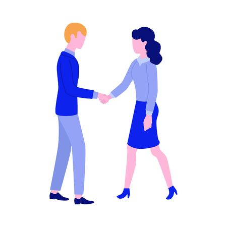 Flat man and woman handshake icon. Two partners shaking hands after successful cooperation, teamwork, meeting agreement or deal. Symbol of business relationships or friendship. Vector illustration