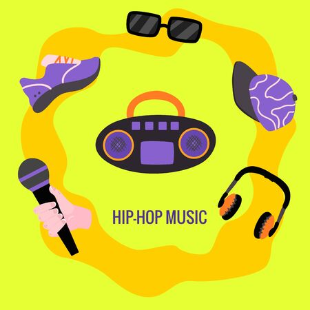 Flat rap, hip hop music symbols poster. Retro sneakers, dj vintage vinyl turnable, sunglasses, headphones with hand holding microphone and chain with dollar. Vector illustration Ilustrace