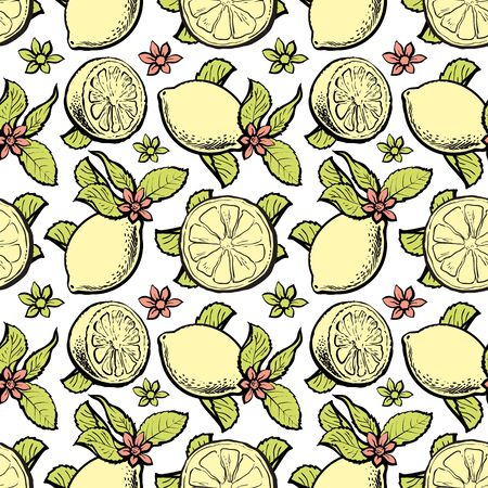 Vector sketch yellow lemon with slice, leaves icon seamless pattern. Citrus fresh food full of vitamins. Cafe, restaurant menu, vegetarian, healthy organic food packaging, textile design illustration