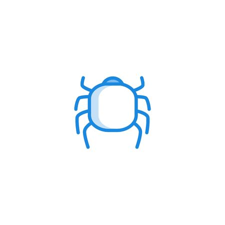 Allergy symptoms concept. Beetle, mite or bug as common insect allergen in blue outline icon style. Allergic intolerance to food, insects or pollen. Medical healthcare problem. Vector illustration Stock Illustratie