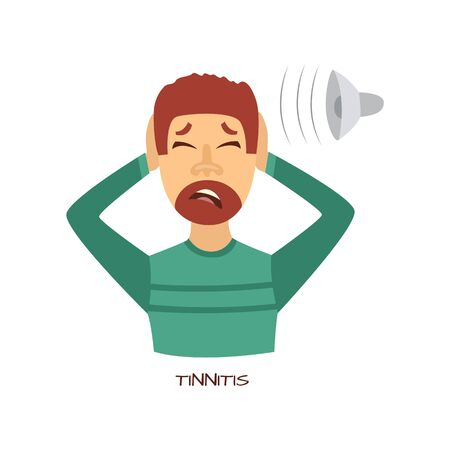 Unhappy man suffering from tinnitus and head pain holding ears. Sick male character with cold and flu. Unwell person with disease. Vector illustration.