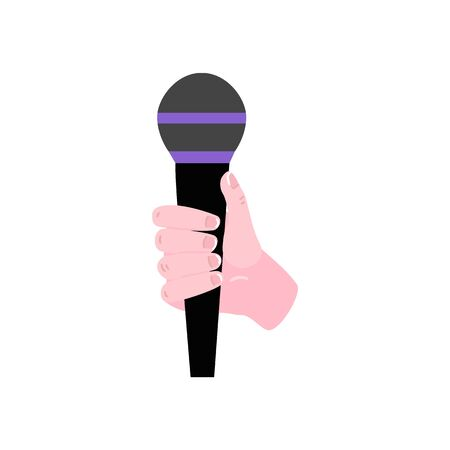 Flat hand holding microphone icon. Audio broadcasting, karaoke interview and free radio symbol. Audio representative equipment. Vector illustration