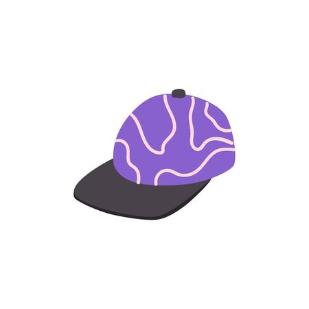 Flat hip hop, rap style purple cap in hand drawn icon style. Baseball sport clothing, fashion accessory. Vector isolated illustration.