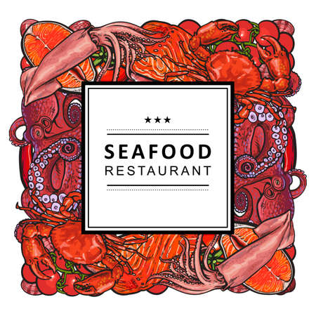 Vector seafood restaurant, cafe logo, advertising poster with square underwater animals delicacy sketch pattern. Marine composition with squid meat steak octopus and caviar with abstract splash