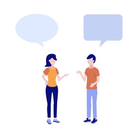 Cartoon young woman and man in casual clothing talking to each other gesticulating with empty speech bubble above head. Friends or colleagues and social communication. Vector illustration