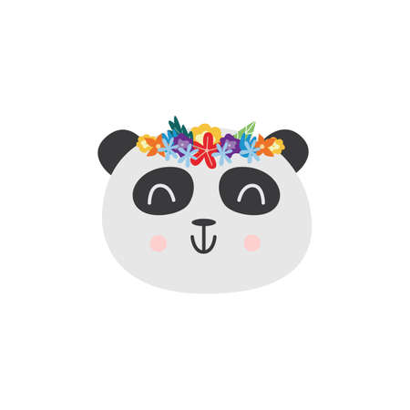 Cute funny pandas head in flower wreath sticker or fashion patch design, flat vector illustration isolated on white background. Emoticon of animal cartoon character. 向量圖像