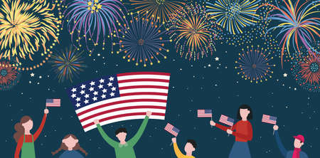 4th of July Independence day banner - people with American flag celebrating on night sky background with fireworks. USA holiday poster - flat vector illustration.