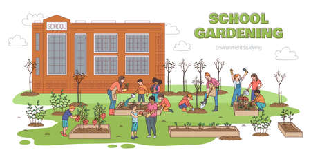 Children gardening outdoors by school building - cartoon banner with kids planting trees, harvesting and watering plants on summer day. Vector illustration.