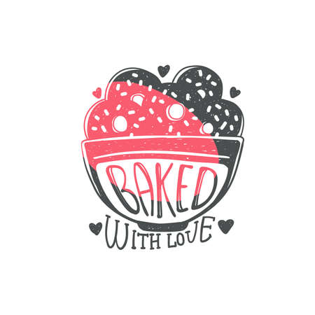 Baked with love - cute kitchen quote doodle on cookie bowl isolated on white background. Hand drawn lettering phrase for baking - flat vector illustration.