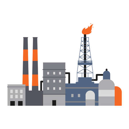 Oil industry factory buildings, pipes and drilling rig derrick isolated on white background. Flat vector illustration of industrial plant infrastructure facade, .
