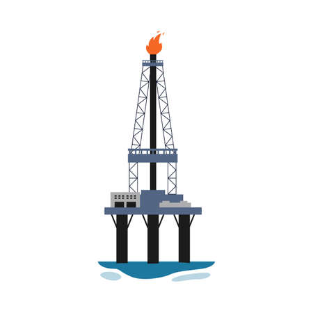 Marine oil drilling Derrick rig isolated on white background - oil production industry equipment in tower structure with lit fire pipe. Flat vector illustration. Ilustração