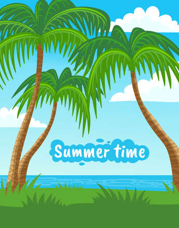 Summer time vacation landscape layout or banner template, flat vector illustration. Card or background with tropical sea or ocean cost backdrop and palms.