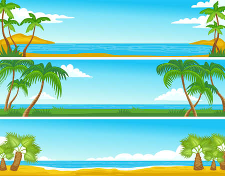 Horizontal summer sand sea shore beach or island backgrounds or banners set with palm trees, flat vector illustration. Tropical nature panorama landscape. Illusztráció