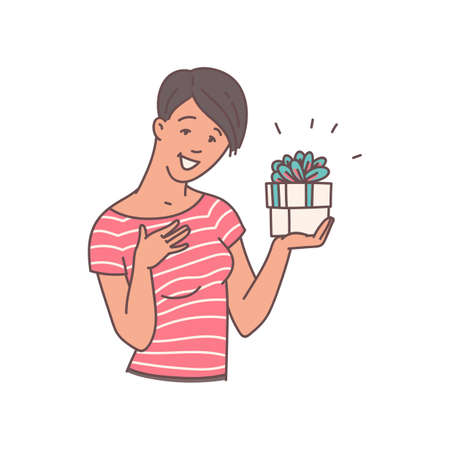 Happy woman holding gift box with surprised and grateful face - cartoon girl pleased with little surprise present decorated with ribbon box. Flat isolated illustration.