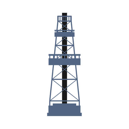 Industrial derrick tower - oil well drilling rig framework isolated on white background. Flat vector illustration of vertical metal structure for oil industry.