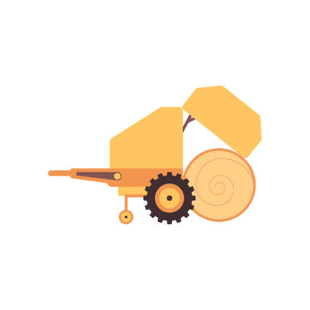 Agricultural haymaking machinery icon, flat vector illustration isolated on white background. Plant growing and livestock industry equipment or machine.