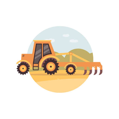 Yellow tractor plowing a field - agriculture machine with plough plowing soil on rural farm. Agricultural machinery from side view - flat cartoon vector illustration.