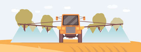 Irrigation tractor or fertiliser spreader machine in crop field spraying water or fertilizer on soil. Yellow agriculture mechinery from front view, flat vector illustration.