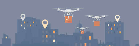 Drone delivery concept with quad copters at night city background, flat illustration. Backdrop or banner for advanced internet shops goods shipping technology. Ilustração