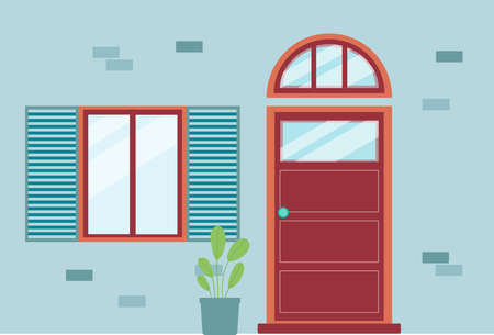 Blue brick house facade with red front door with arched transom window and single window with open shutters. Building entrance exterior with houseplant - flat vector illustration.