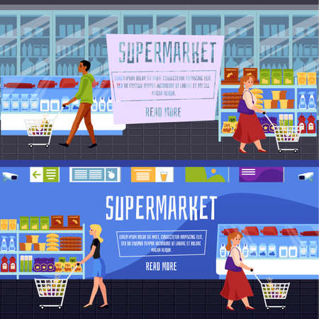 Set of supermarket store banners or flyers with customers shopping at grocery shelves background, flat vector illustration. Shop interiors with people purchasing goods.