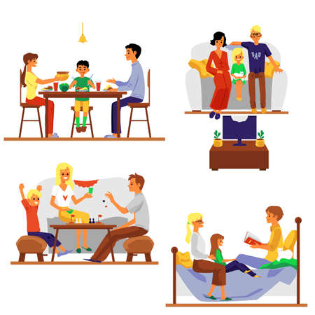 Parents with children spending time at home, flat vector illustration isolated on white background. Family home activity and leisure scenes collection. Vector Illustration